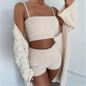 Other - Knitted Crop Top And Shorts Lounge Set Beige S